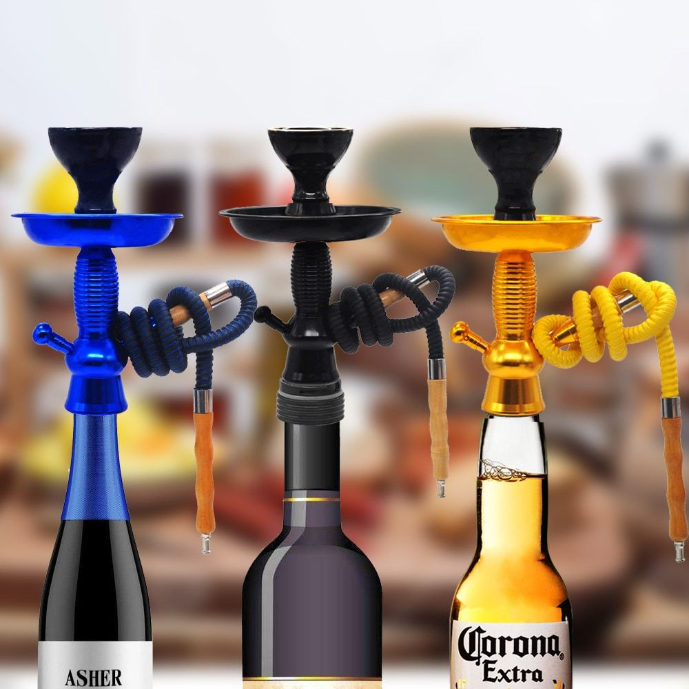 Hookah Shisha Champagne/Wine Bottle Top Hookah Stem Kit HOOKITUP Aluminum Hookah <font><b>Chicha</b></font> Complete Set With Bowl And Hose