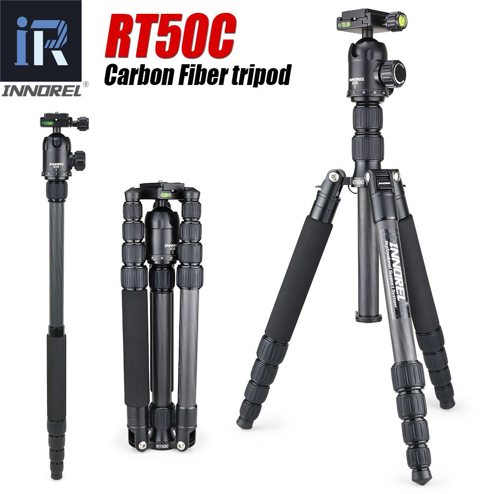 RT50C <font><b>Carbon</b></font> Fiber tripod monopod for dslr camera light Portable stand compact professional tripe for Gopro Better than Q666C