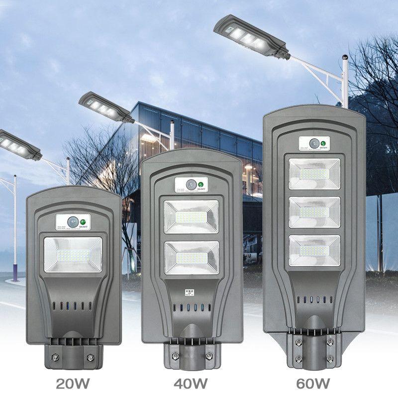 Mising Waterproof LED Solar Street Light Outdoor 20W 40W 60W Solar Grade Street Lighting PIR Motion Sensor for Garden Path