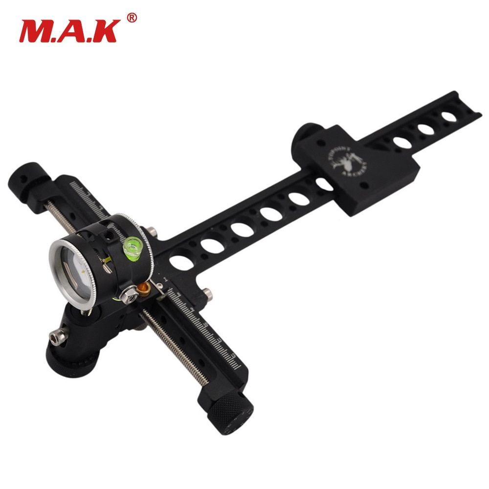 Compound Bow 1 Pin Bow Sight Micro Adjust Long Pole for Hunting and Archery