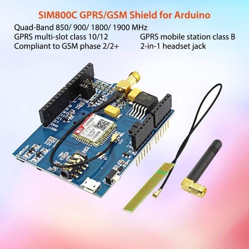 Elecrow GPRS GSM SIM800C bouclier pour Arduino SIM800C Module avec antenne Sim900 GSM GPRS PCBA kit de développement kit de bricolage Modules