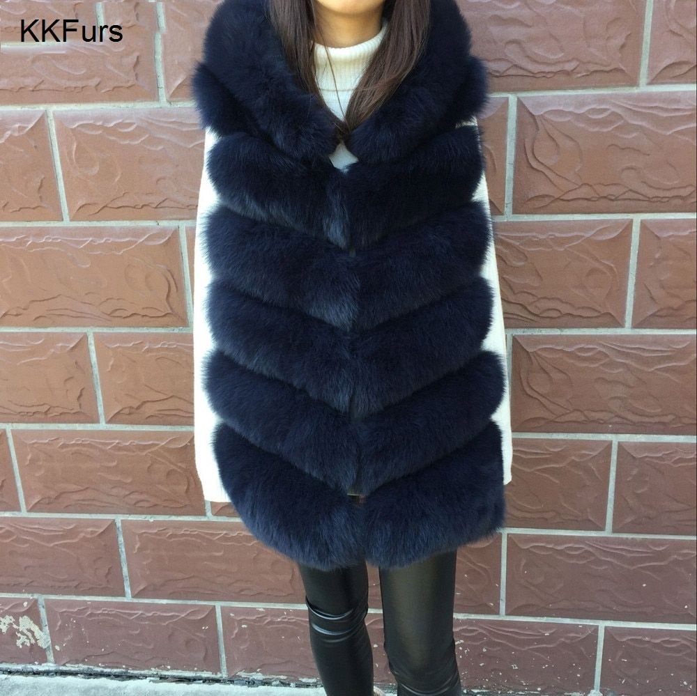 JKKFURS 2018 New Winter Women Real Fox Fur Hooded Vest Warm Thick Top Quality Lady Fashion 6 Rows Gilet S7236