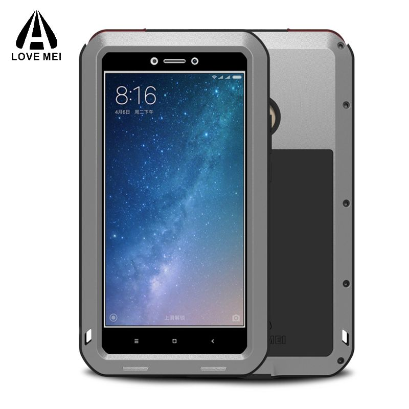Metal Aluminum  Phone Cover Xiaomi Mi Max 2 Case Cover Armor Shockproof Xiaomi Mi Max2 Case For Xiaomi Mi Max 2 + Gorilla Glass