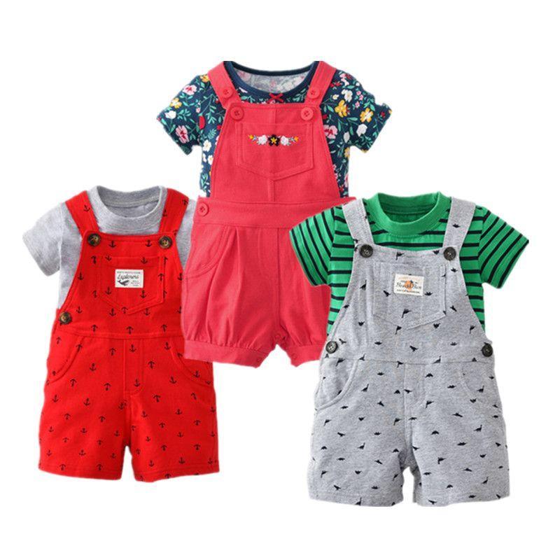 2018 bebes baby boys 2 pcs/sets newborn baby kids summer shorts girls T-shirt Belt pats clothes drop shipping Anchor Wave point