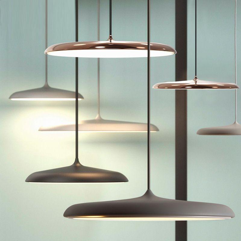 Modern Art Design LED Pendant Light UFO Round Plate Suspension Lamp For Dining Room Living Room Bedroom Table Study Hanging Lamp