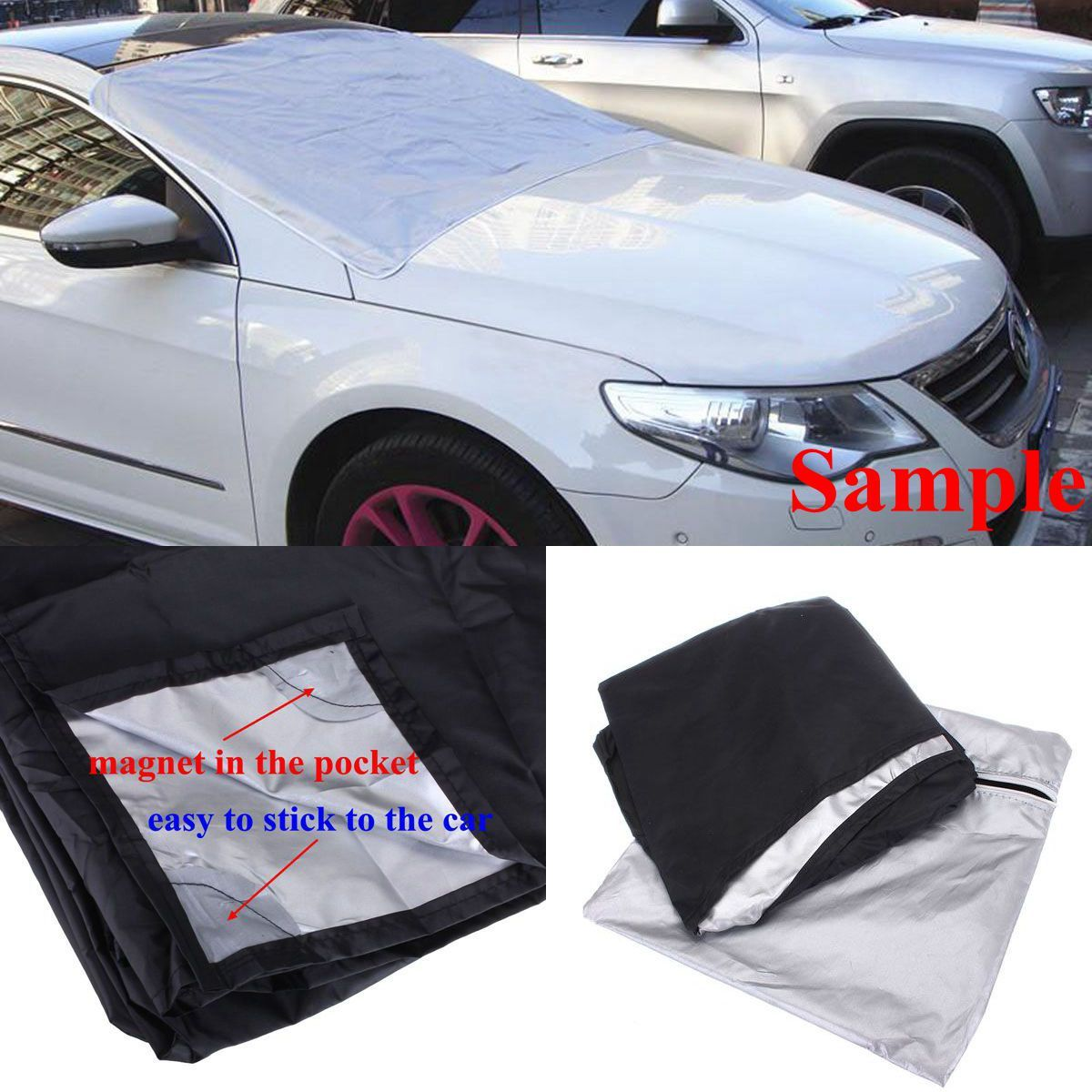 Car SUV Magnet Windshield Cover Sun Shield Snow Ice Frost Freeze Protector Black Silver