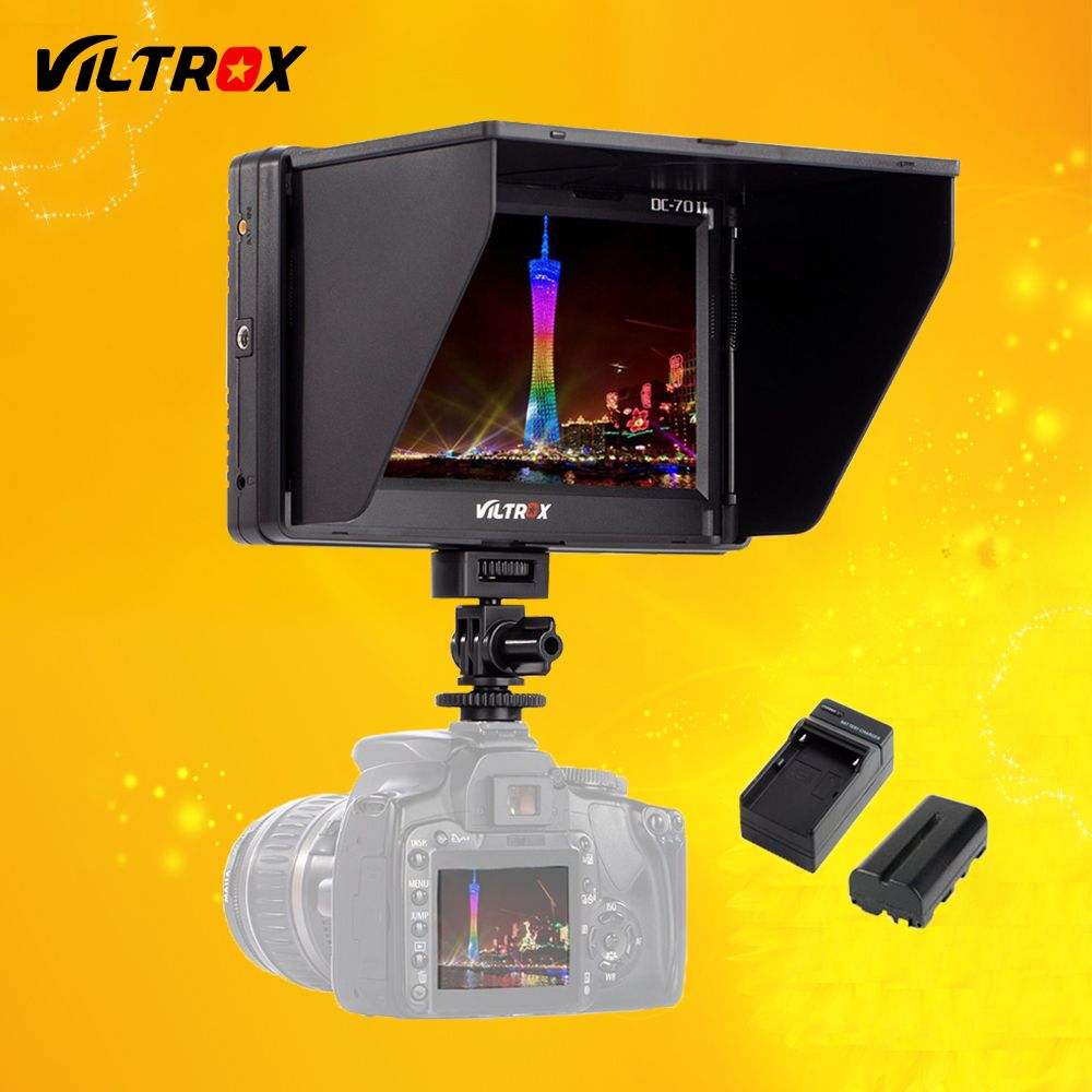 Viltrox 7'' DC-70 II Clip-on HD LCD HDMI AV Input Camera Video Monitor Display & Battery & Charger for Canon Nikon DSLR BMPCC