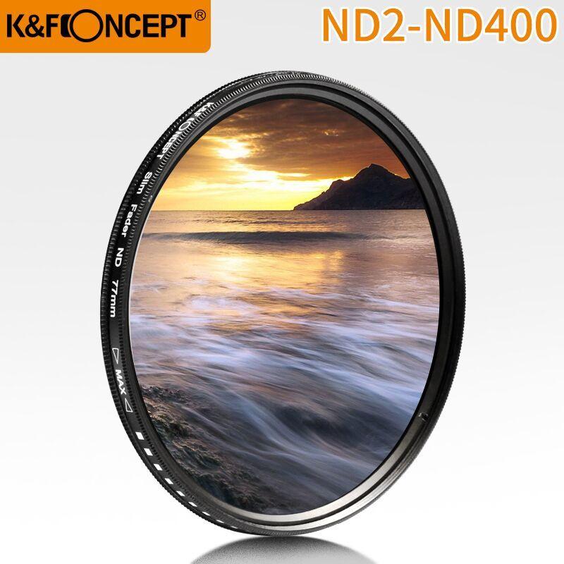 K & F CONCEPT 52MM 55MM 58MM 62MM 67MM 72MM 77MM mince Fader Variable ND lentille filtre réglable ND2 à ND400 densité neutre