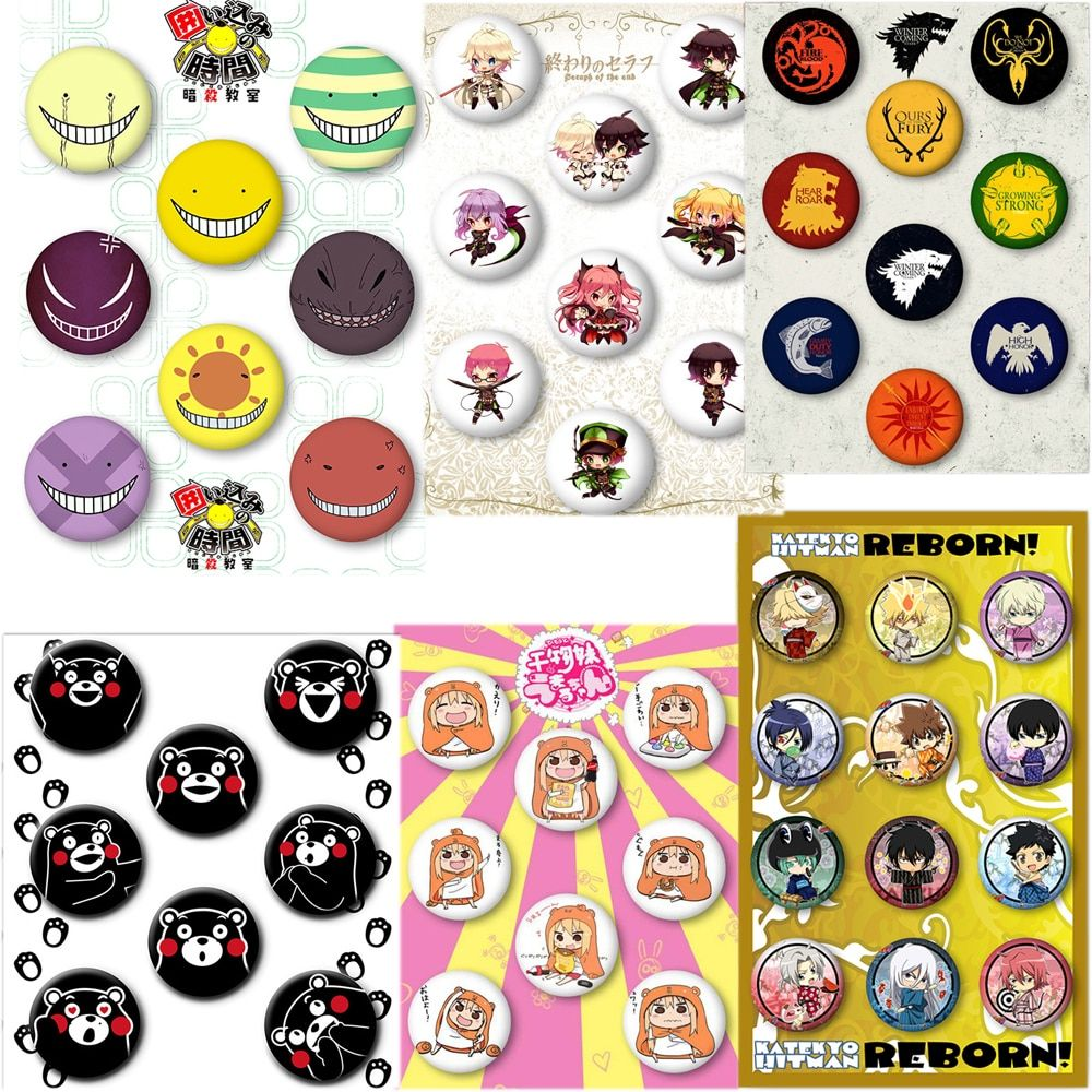 REBORN Conan Cosplay Badge Kumamon Seraph of the end Cartoon Brooch Game of Thrones DRRR Himouto! Umaru-chan Collection Badge