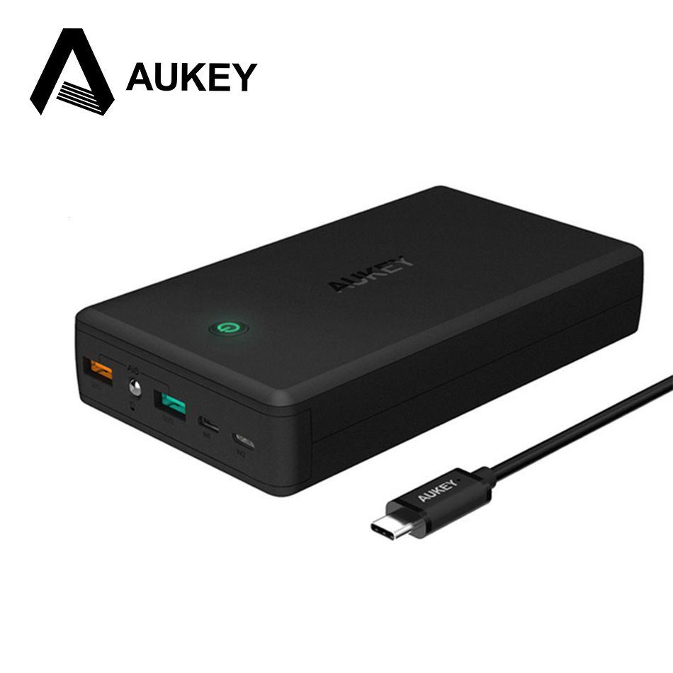 AUKEY 30000 mAh Powerbank 2 USB Puissance Banque Charge Rapide 3.0 Portable Chargeur de Batterie Externe pour Samsung iPhone 8 7 s Xiaomi Mi5