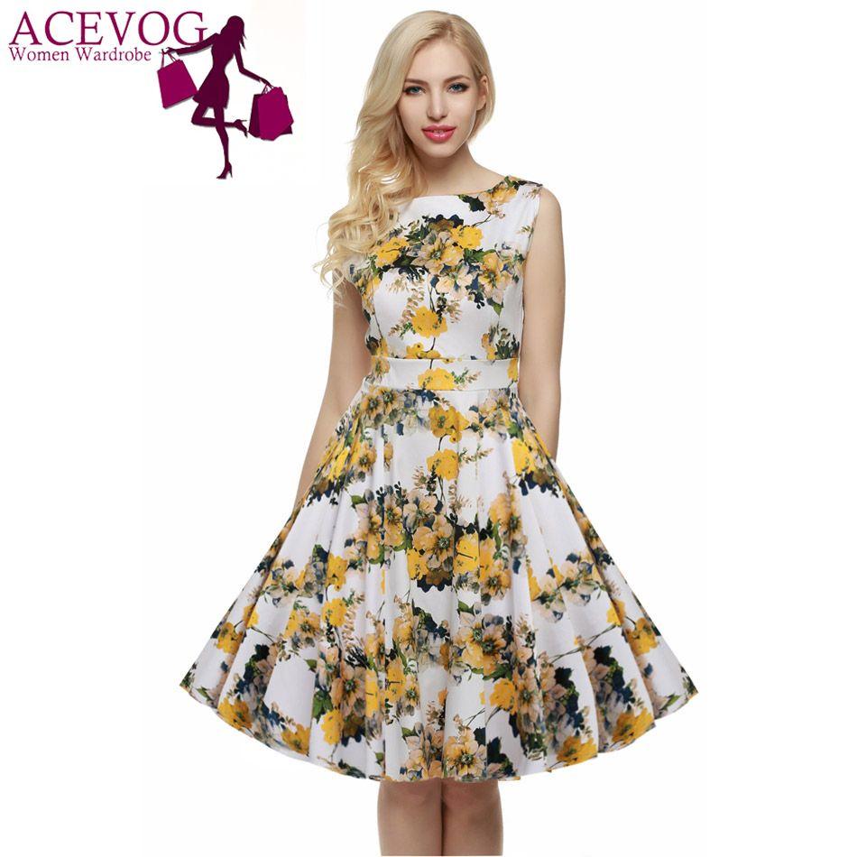 ACEVOG femmes décontracté élégant robe sans manches Floral rétro Vintage 1950s 60s Swing robes d'été élégant tunique Vestidos S-3XL