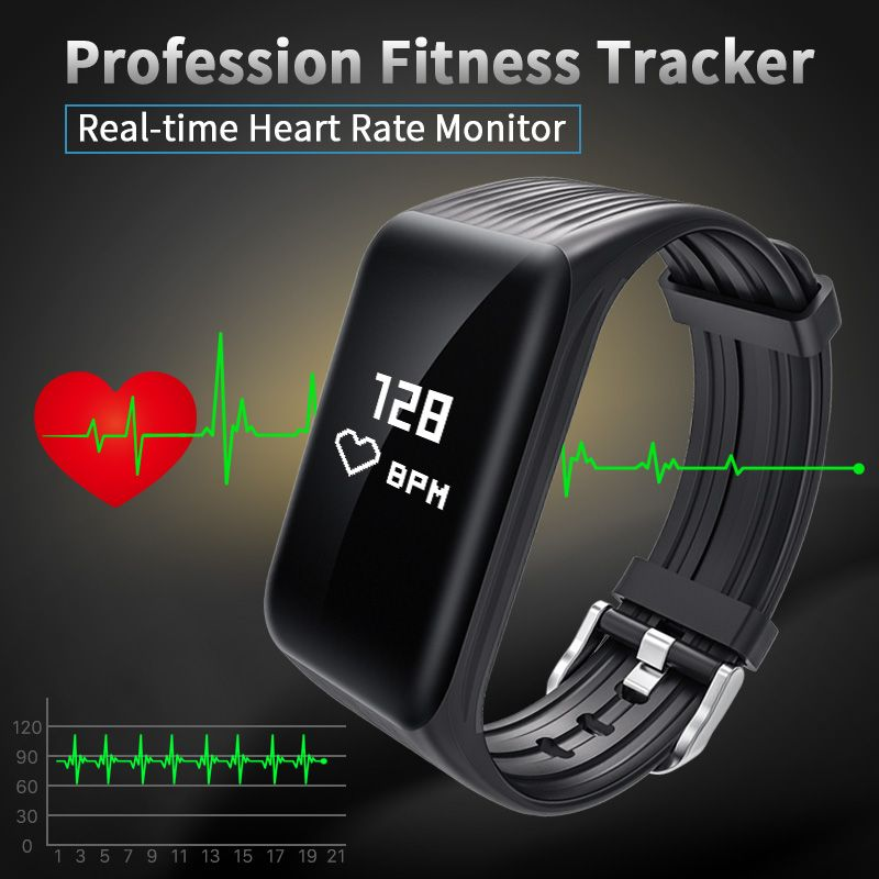 New Fitness Tracker K1 Smart Bracelet Real-time Heart <font><b>Rate</b></font> Monitor down to sec Charging 2 hours Useing 1 weeks waterproof watch