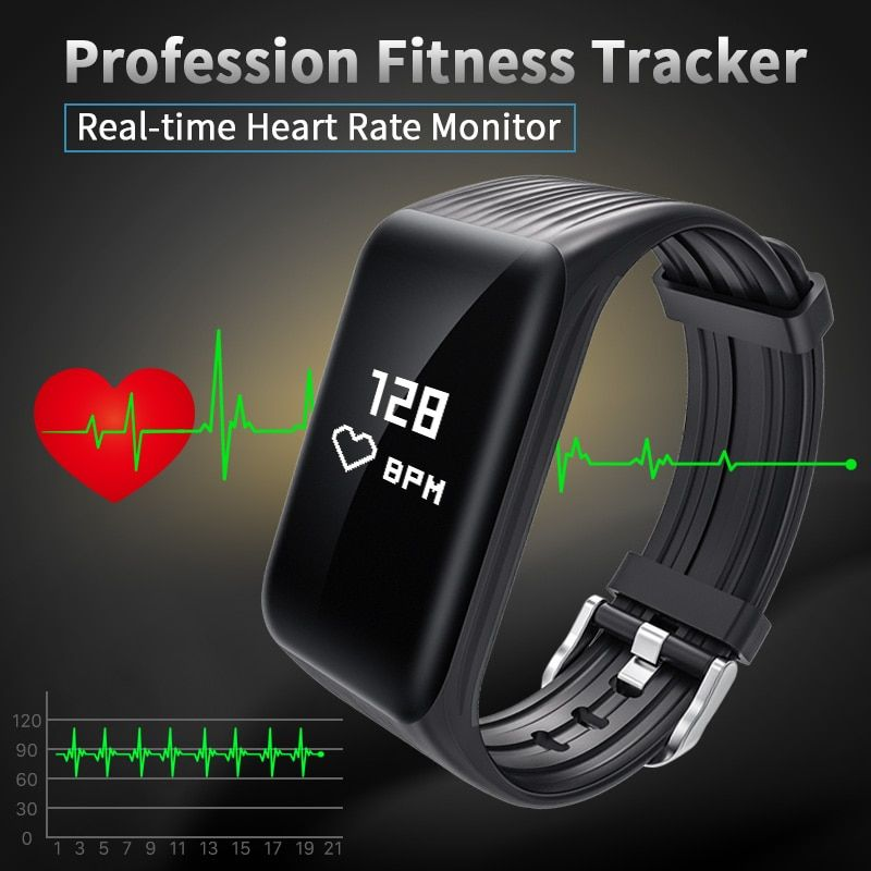 New Fitness Tracker K1 Smart Bracelet Real-time <font><b>Heart</b></font> Rate Monitor down to sec Charging 2 hours Useing 1 weeks waterproof watch