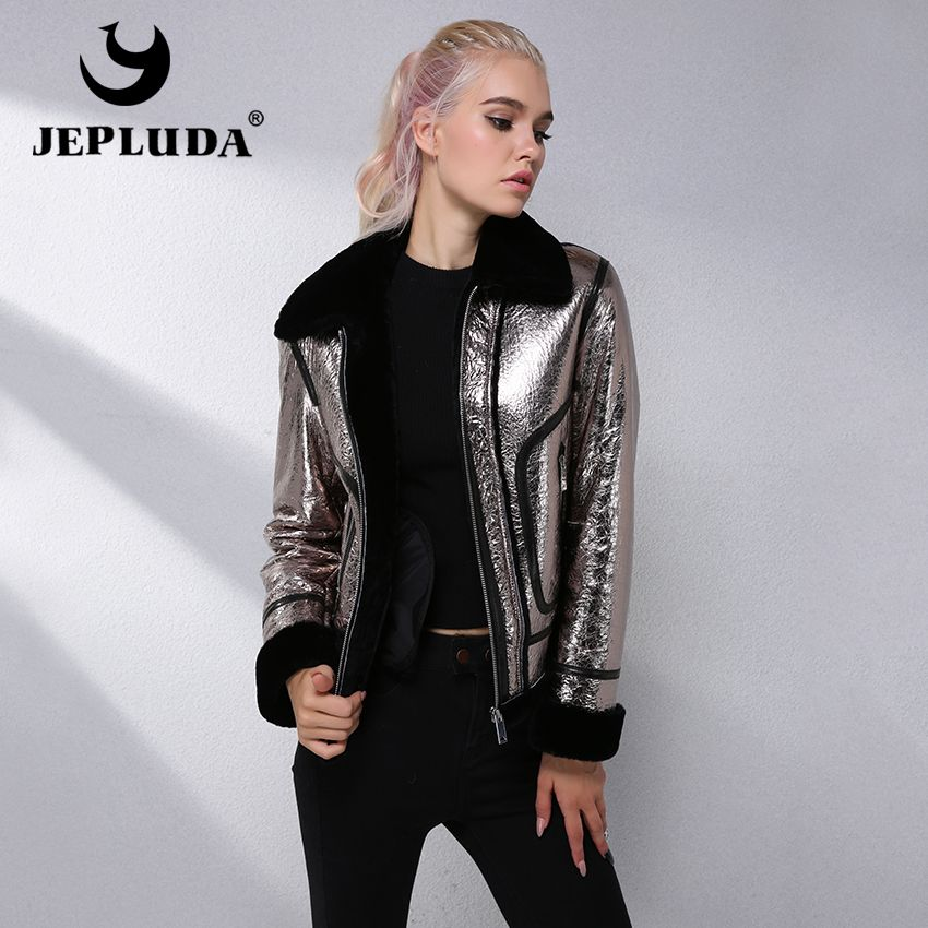 JEPLUDA Fashion Cool Genuine Leather Jacket Women Zipper Short Sheepskin Real Fur Coat Women Clothes Natural Winter Fur Jacket