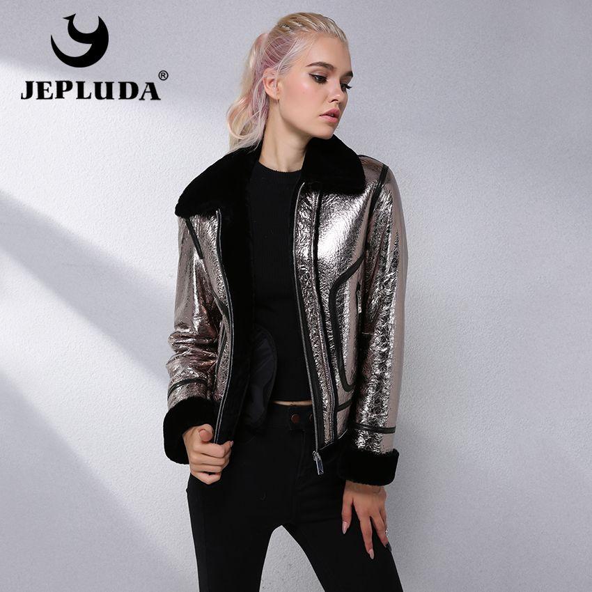 JEPLUDA Fashion Cool Genuine Leather Jacket Women Zipper Short Sheepskin Real Fur Coat Women Clothes Natural Winter Fur Jacket