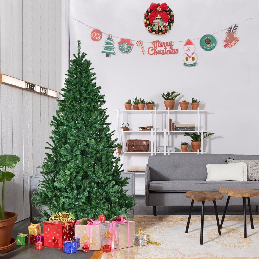 Goplus 1.5/1.8m 5'/6' Artificial Christmas Tree with Stand Holiday Indoor Outdoor Premium Hinged New Year Decor for Home
