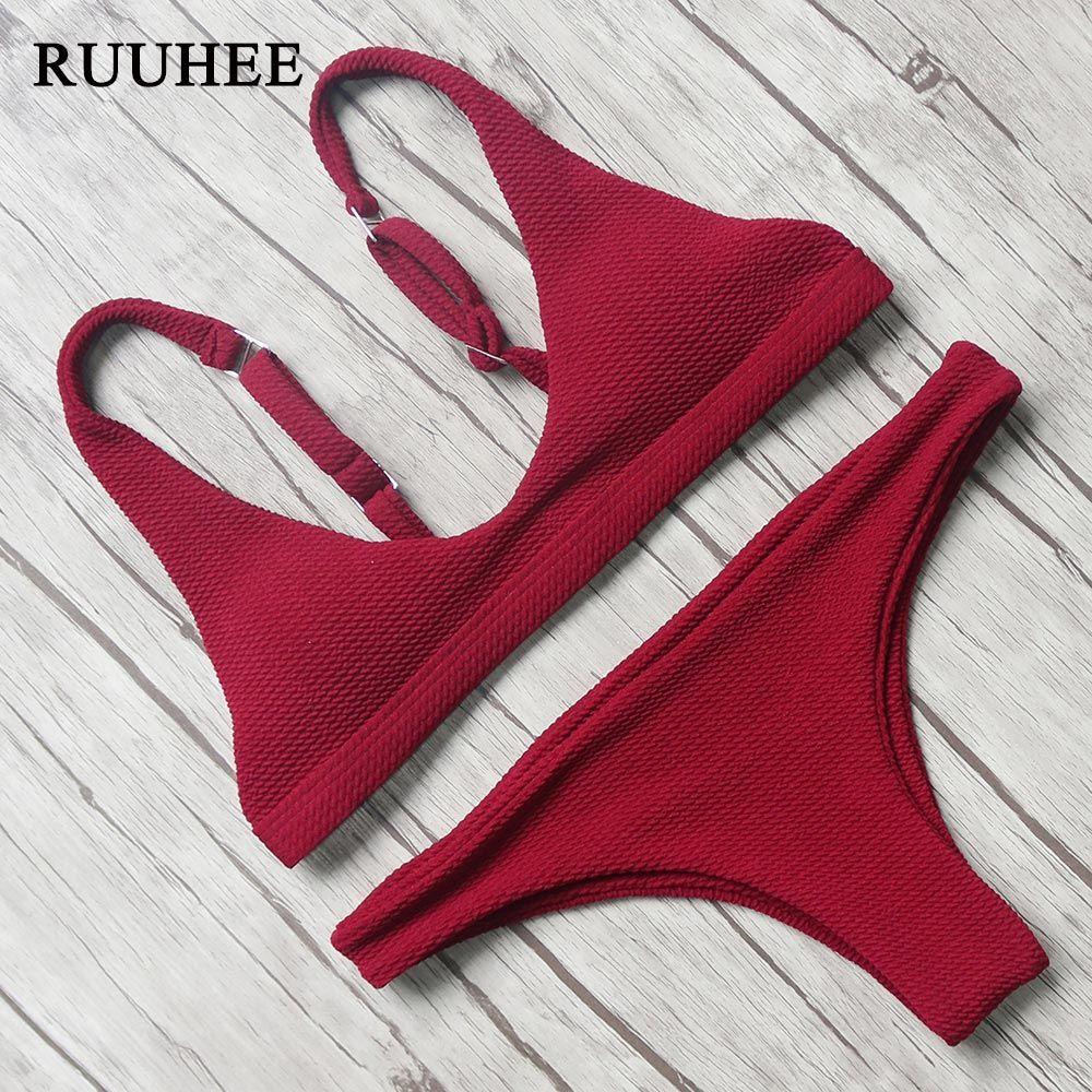 RUUHEE Bikini 2017 Sexy Swimsuit Women Halter Bandage Swimwear Female Thong Bikini Set Push Up Bathing Suit Beach Suit with Pad