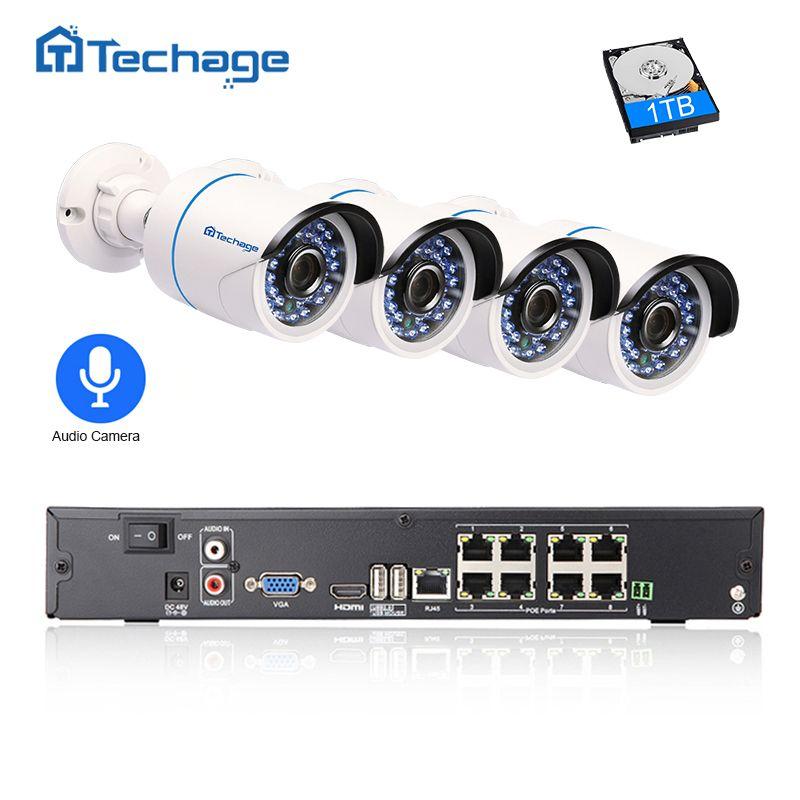 Techage 8CH 1080 P POE NVR Kit Caméra de Sécurité CCTV Système 4 PCS Extérieure Audio Son Record Caméra IP P2P Vidéo Surveillance ensemble