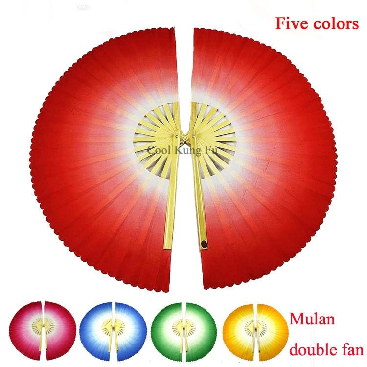 Gradient color bamboo magnolia double fan Kungfu mulan fan tai chi performance one pair