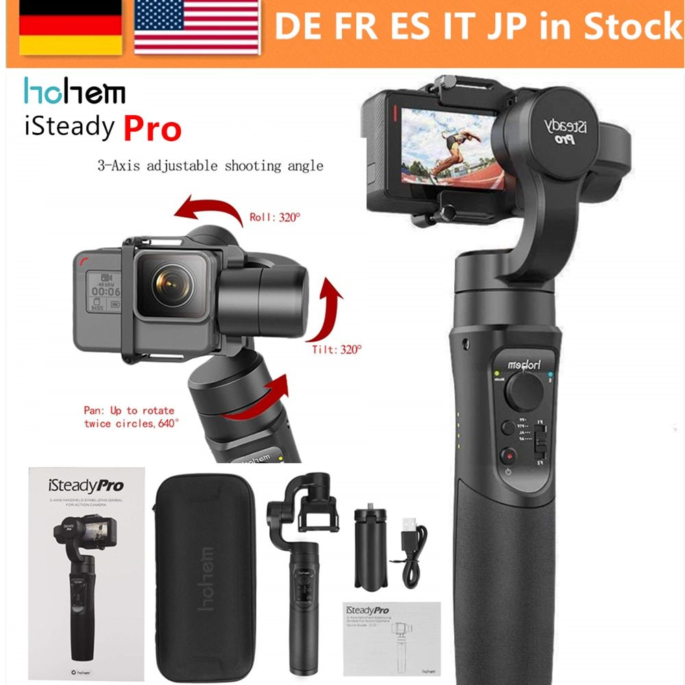 Hohem iSteady Pro 3-Axis Gimbal Stabilizer for GoPro Hero 7 6 5 4 3 Yi 4K, Action Camera RXO AEE SJCAM ,3-Axis GoPro Gimbal