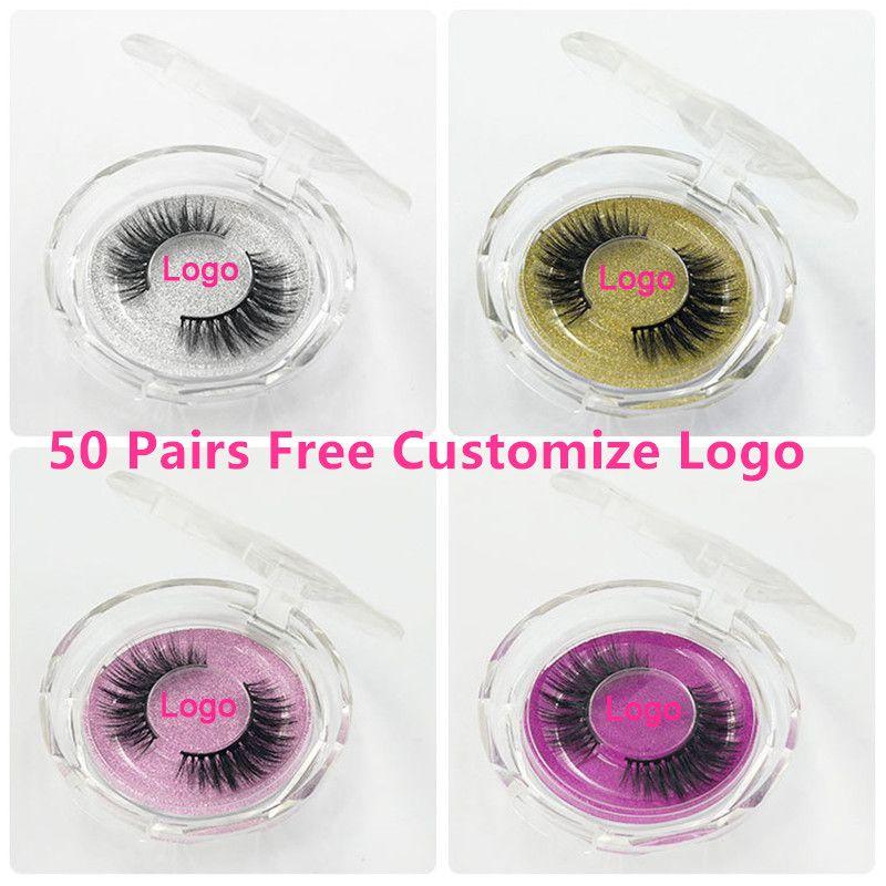 50pcs Mink Lashes Luxury Natural long Mink False Eyelashes Cross Thick Extension Eyelashes 18Styles Free Logo Wholesale