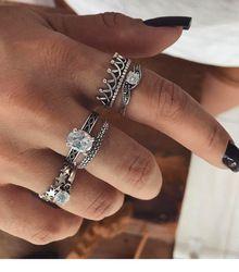 WLP Bohême punk ethnique couronne étoiles croix cristal anneau ensemble, 6 pièce anneau Boho Femelle Charmes Bijoux Knuckle Rings pour les femmes