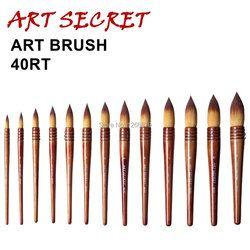 40RT haute qualité Corée importation taklon cheveux courts en bois poignée de cuivre fil tordu aquarelle peinture fournitures d'art artiste brosse