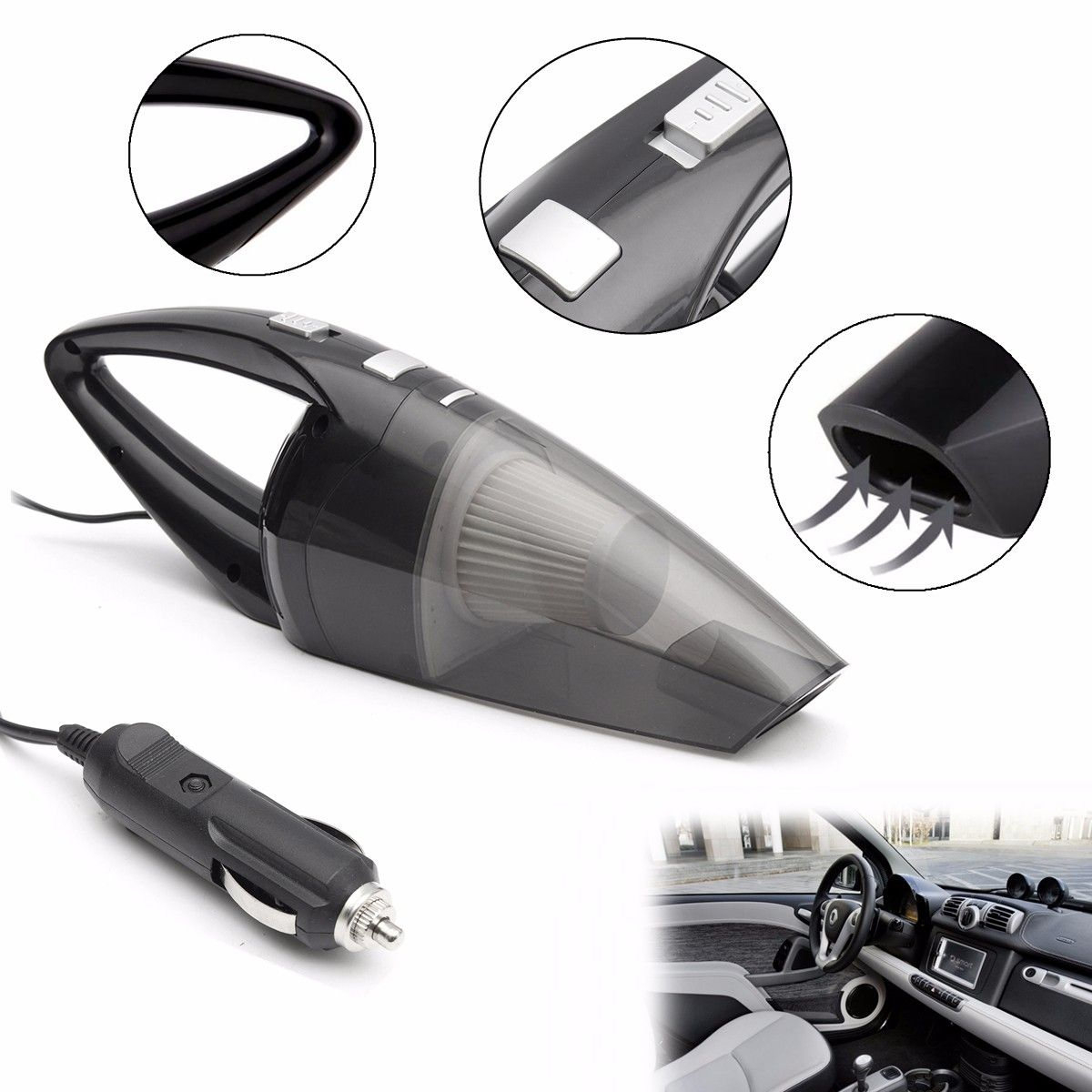 120W Portable Car Vacuum Cleaner Wet And Dry Dual Use Auto Cigarette Lighter Hepa Filter 12V Black White Blue Gray