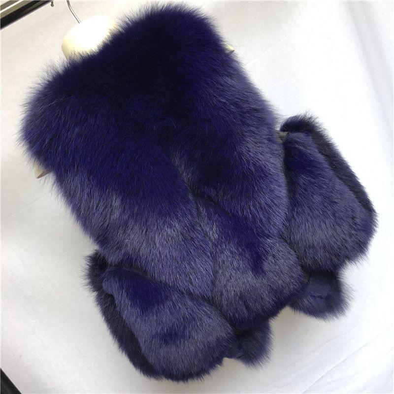 2017 Autumn Winter Real Fox Fur Vest Women Connect with Real Rabbit Fur Short New Fashion Ladies Waistcoat Natural Fox Fur Gilet