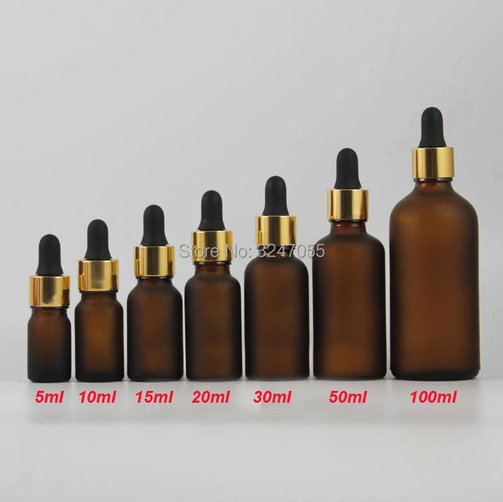 Matte Brown Glass Pipettes Cosmetic Essential Oil Containers, DIY Empty Frosted Amber Vial Dropper Bottle,5/10/15/20/30/50/100ml