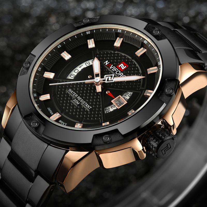 Mens Watches Top Luxury Brand <font><b>NAVIFORCE</b></font> Men Full Steel Watches Quartz Watch Analog Waterproof Sports Army Military WristWatch