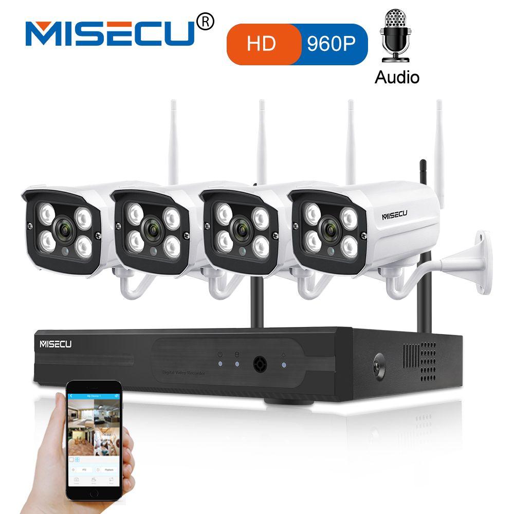 MISECU 4CH WIFI NVR System Plug Play Kit 960P1080P VGA HDMI 1.3MP Wireless IP Camera Audio Sound P2P Waterproof CCTV Seurity