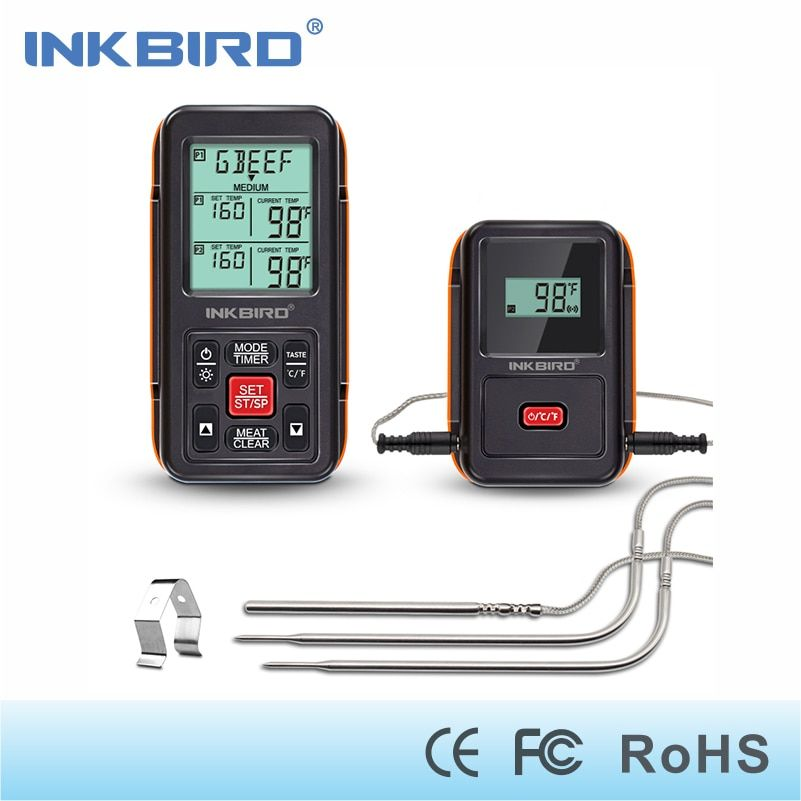Inkbird Remote Wireless Home Use RF Thermometer IRF-2S 1000 Feet for Cooking BBQ Grill Oven Smoker with Three Food-Grade Probes