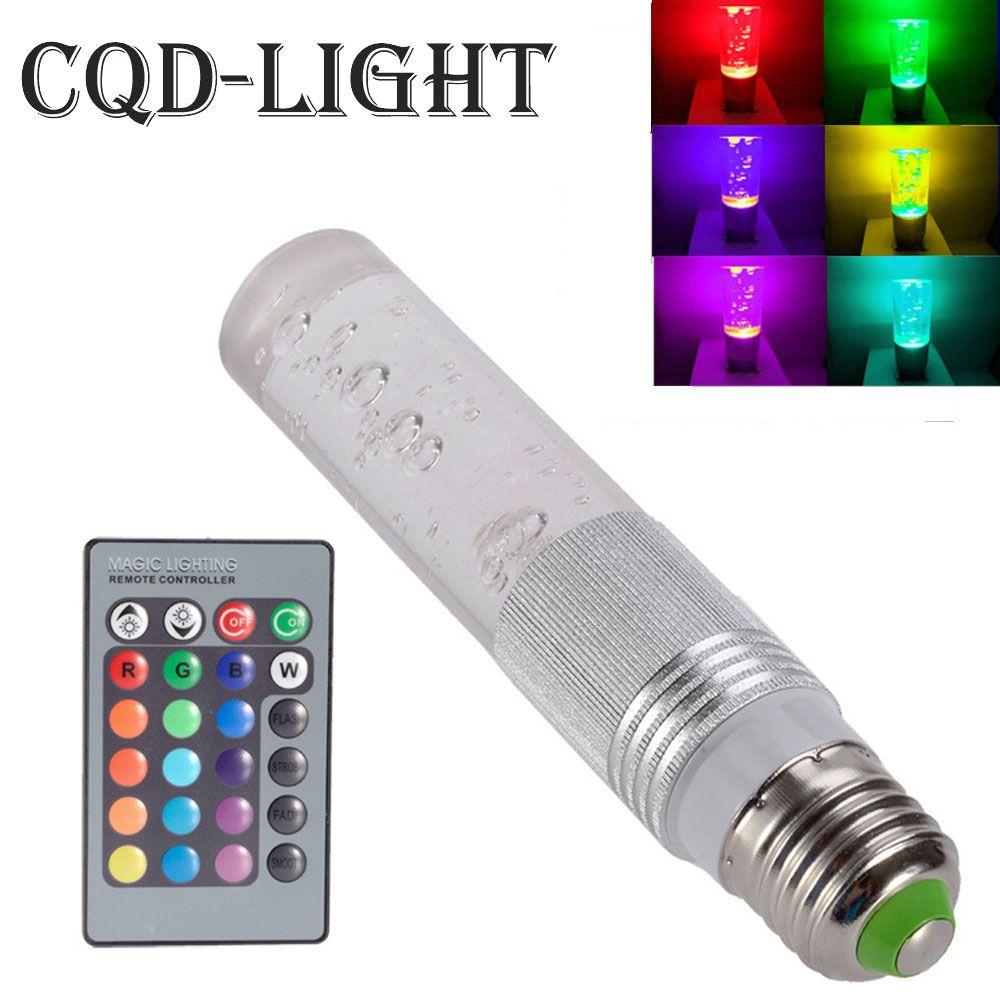 E27 5 W RGB 16 color cambiante bombilla del cristal LED lámpara ir Control remoto regulable