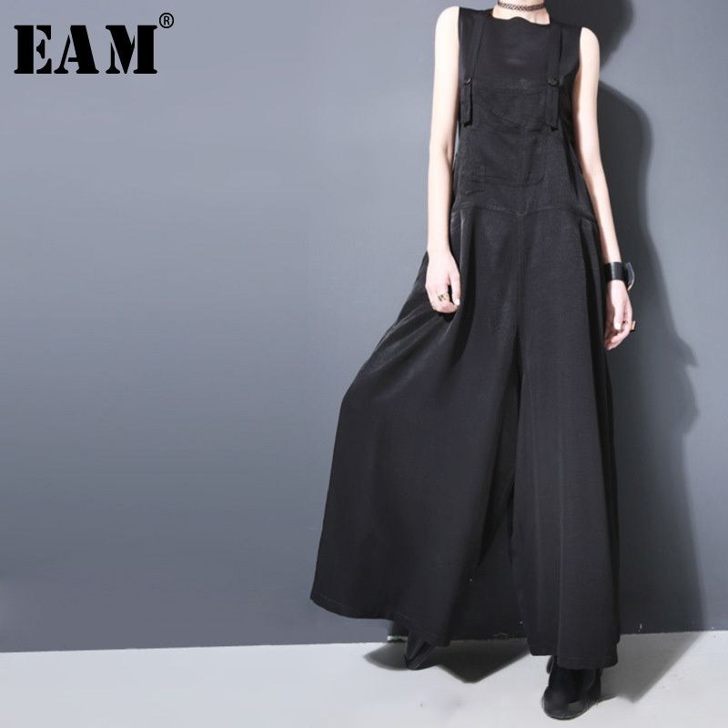 [EAM] 2018 New Summer Strapless Black Brief Button Loose Long Wide Leg Long Pants Women Overalls Fashion Tide JF913
