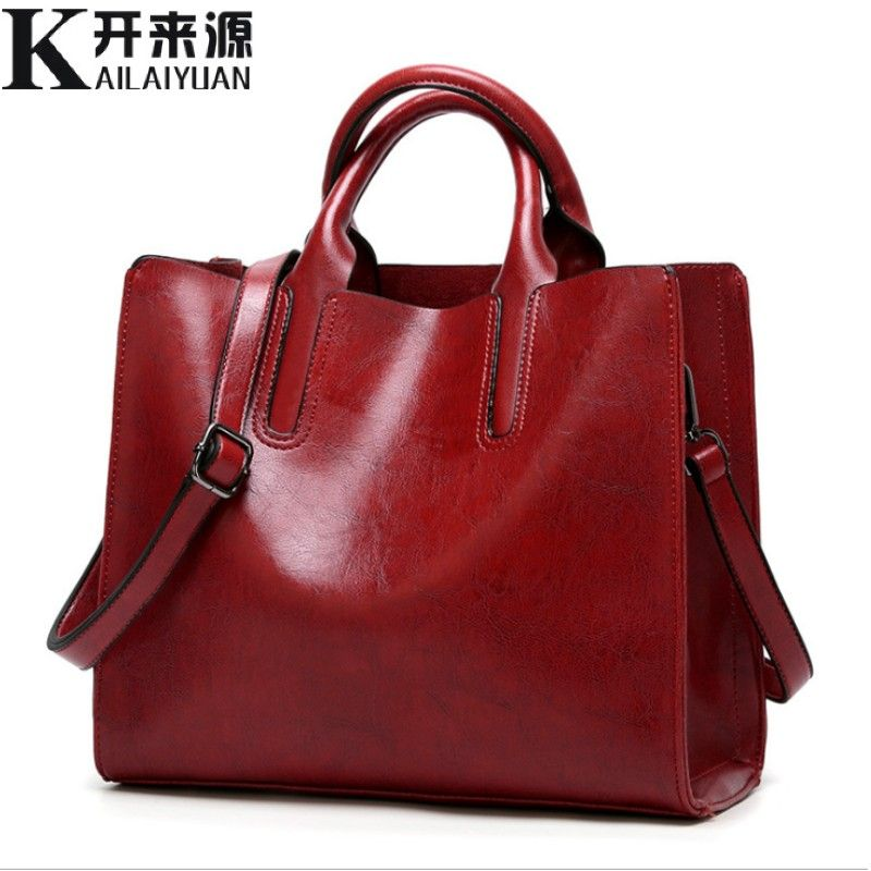 SNBS 100% Genuine leather Women handbags 2018 New handbags Cross-border goods Simple handbag Ms. Briefcase Shoulder Messenger