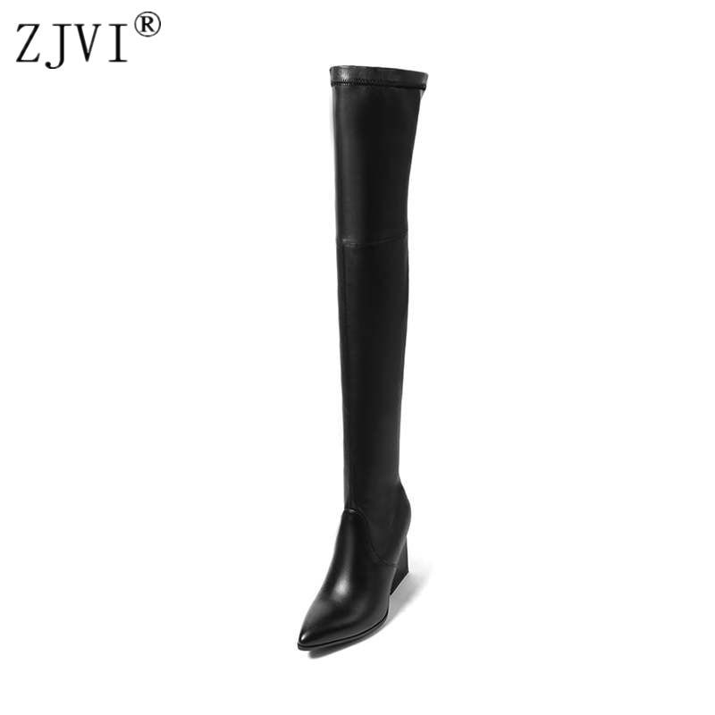 ZJVI women suede stretch high heels over the knee boots woman genuine leather thigh high boots 2018 pointed toe winter shoes