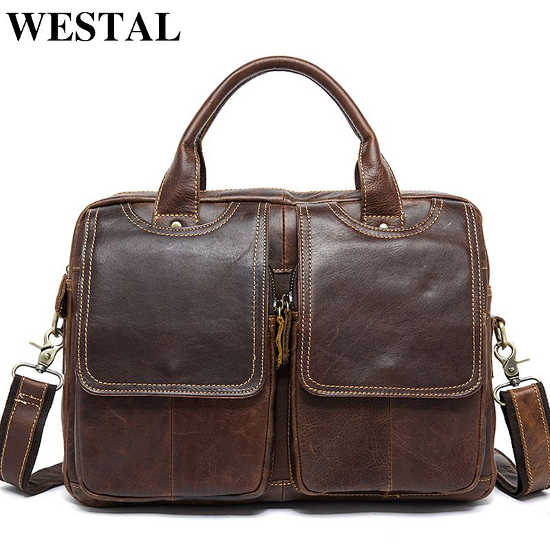 WESTAL Genuine Leather Mens Bags Tote Crossbody Bags Men's Briefcase <font><b>Laptop</b></font> 14'' Messenger Bag Men's shoulder bag Leather 8002