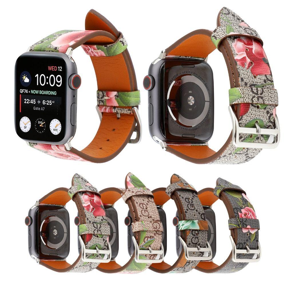 Bracelet de montre en cuir de luxe de mode pour Apple watch series 4 3 2 1 bracelet en cuir d'italie pour Iwatch 44mm/42mm/40mm/38 femmes