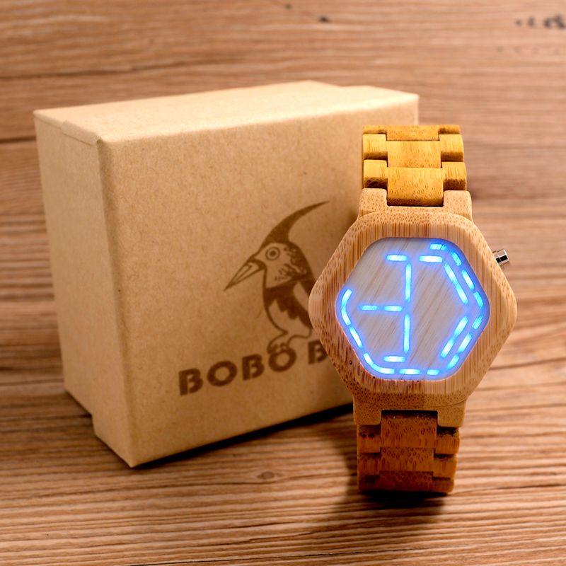 BOBO BIRD LED Bamboo Wood Watches Digital Watch Men Kisai Night Vision Calendar Wristwatch for Men Minimal Time Display C-eE03