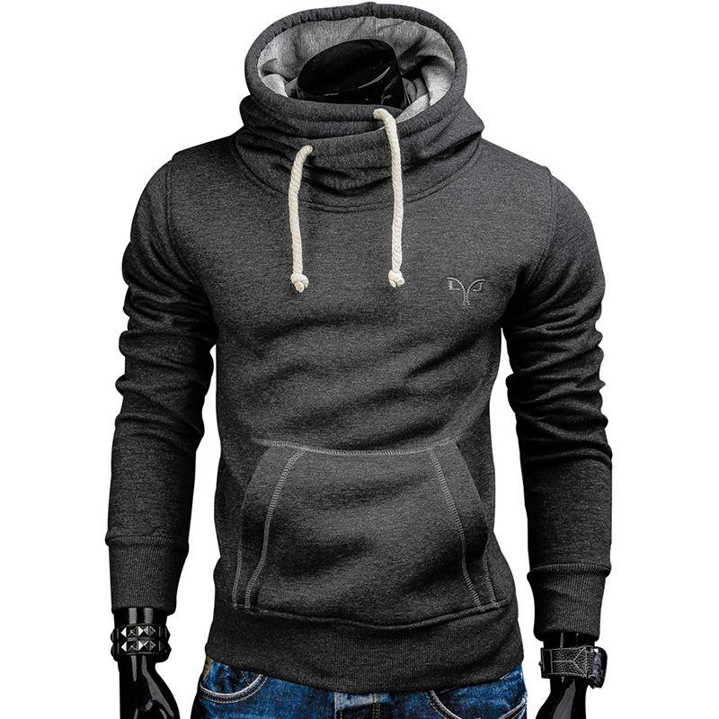 Новинка 2017 года Демисезонный Толстовки Для мужчин модный бренд пуловер Solid Цвет водолазка Спортивная Толстовка Для мужчин костюмы moleton