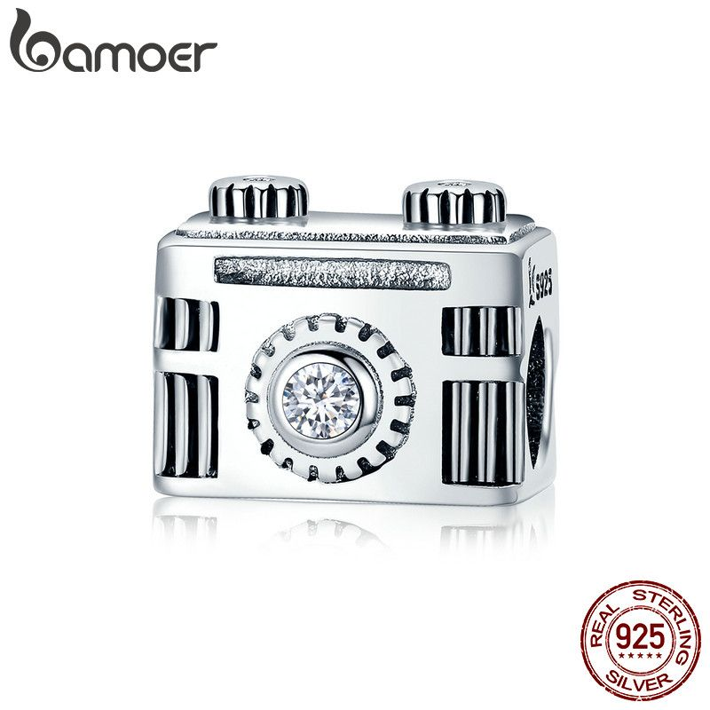 Bamoer auténtico 100% 925 popular vintage Cámara caja de memoria encanto pulsera brazalete DIY joyería SCC516