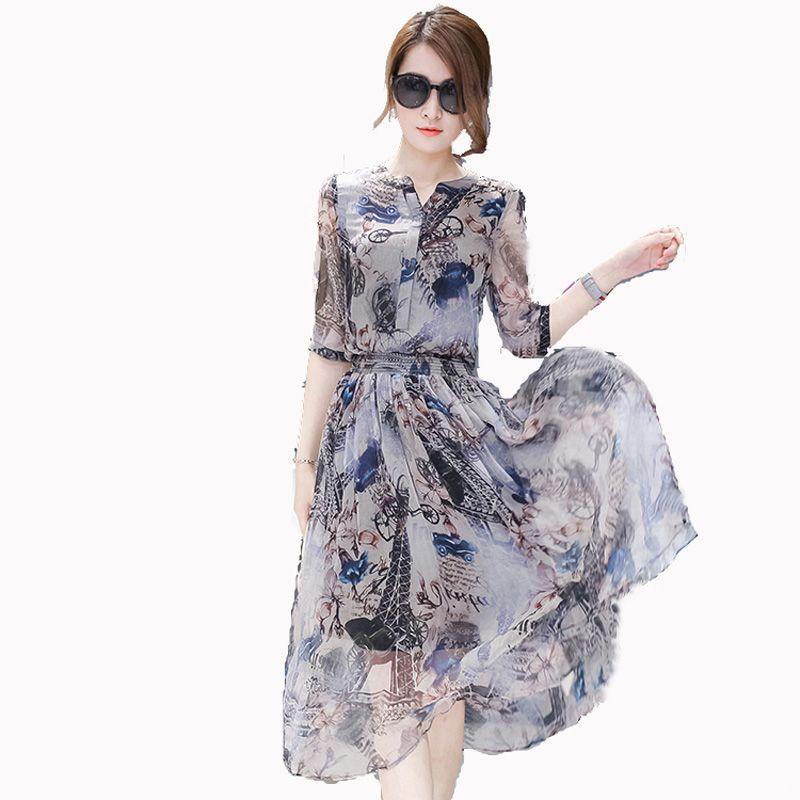 Femme robe d'été 2018 d'été de femmes d'été plus la taille moitié manches en mousseline de soie d'une seule pièce robe robe complète