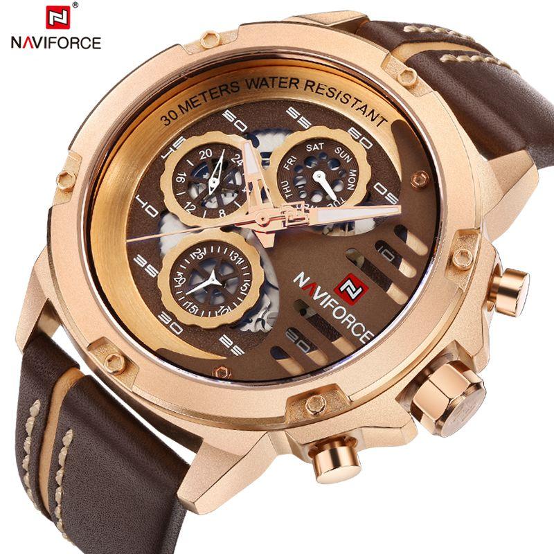 <font><b>NAVIFORCE</b></font> Mens Watches Top Brand Luxury Waterproof 24 hour Date Quartz Watch Men Leather Sport Wrist Watch Relogio Masculino+Box