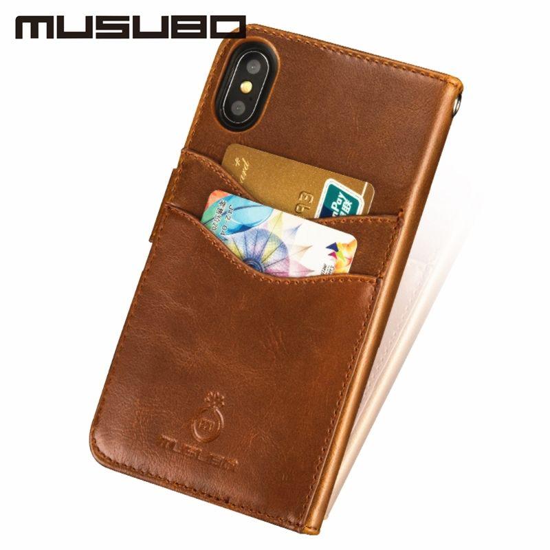 Musubo Luxe Étui En Cuir étui pour iphone XS MAX 8plus 7plus Cas 6 s 6 Housse ajustement magnétique support pour voiture pour Galaxy S8Plus S8