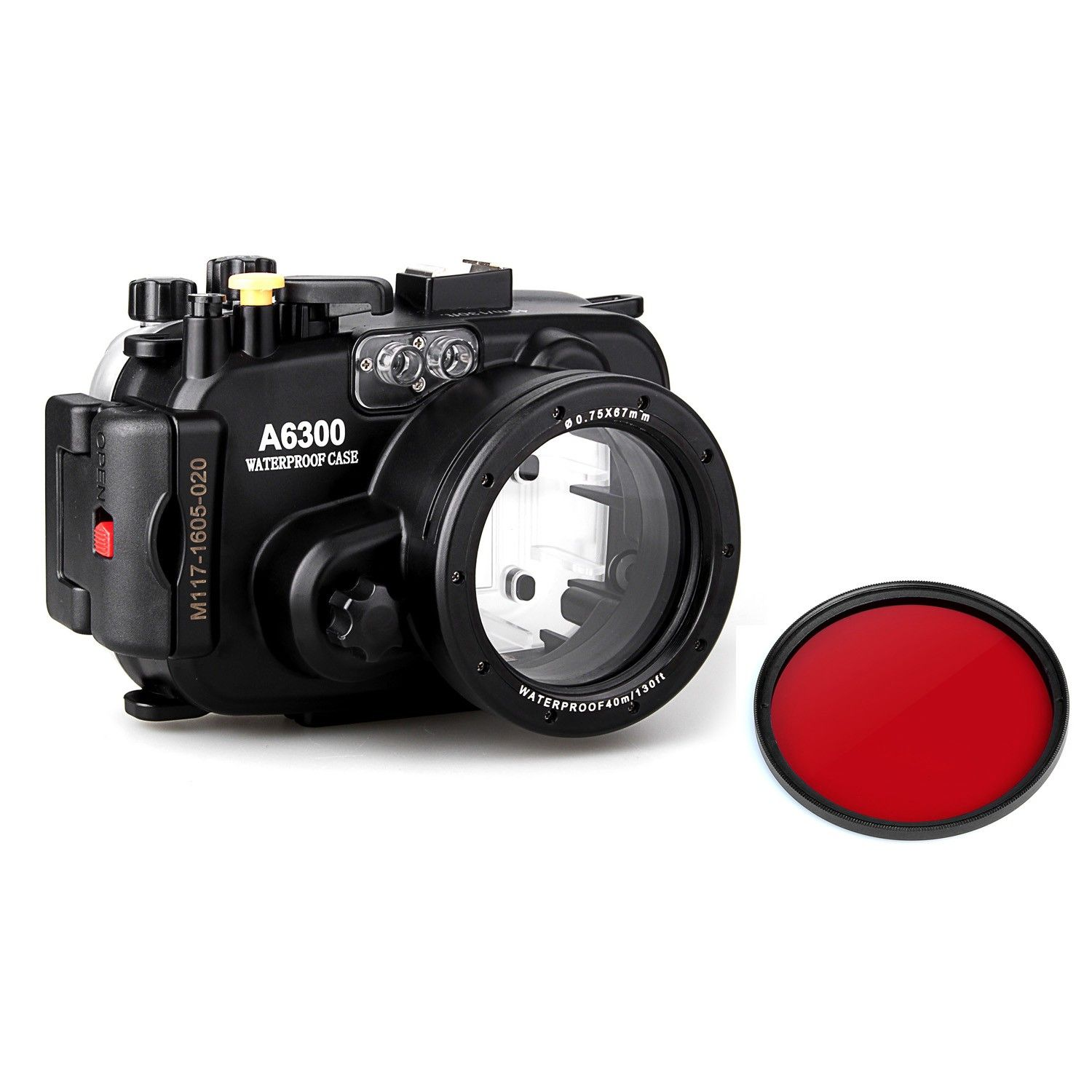Meikon 40m 130ft Waterproof Underwater Camera Housing Case for sony A6300 camera + Red Filter