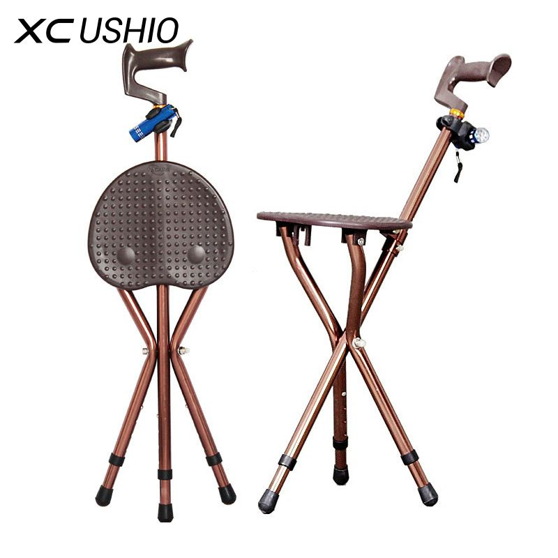 Adjustable Folding Walking Cane Chair Stool Massage Walking Stick with Seat Portable Fishing Rest Stool with LED Light for Elder
