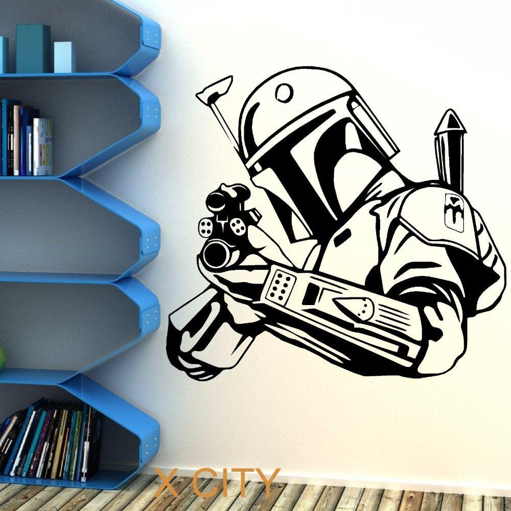 STAR WARS BOBA FETT chasseur de primes sticker Mural autocollant amovible vinyle coupe film thème décoration pour la maison bricolage affiche murale chambre