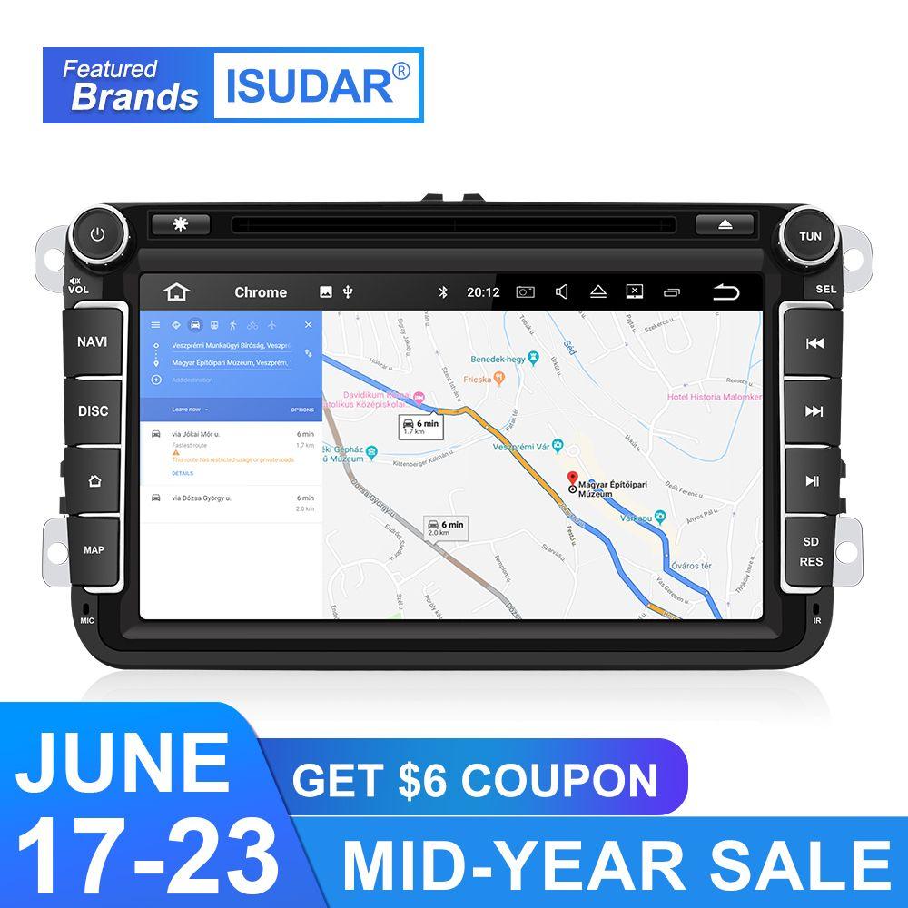 Isudar Auto Multimedia-player GPS Android 9 2 Din Für VW/Volkswagen/POLO/PASSAT/Golf Rückansicht kamera Kapazitiven Touchscreen