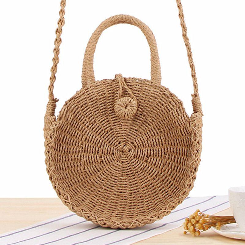 Sac de paille rond fait à la main en rotin tissé Vintage rétro corde de paille tricoté femmes sac à bandoulière frais été sac de plage bohême